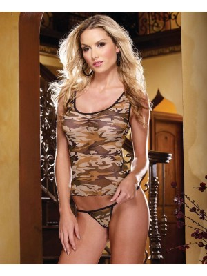 Dreamgirl 4247 Strech Mesh Camisole And Matching Thong