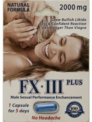FX III Plus Male Sexual Performance Enhancement 5 Days No Headache Pill for Men by Power Vigor