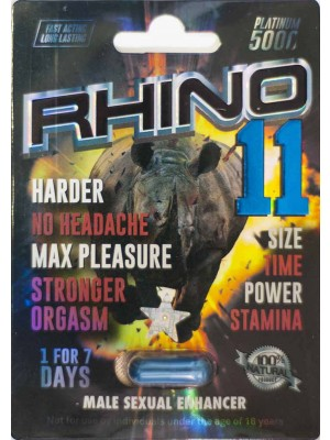 Rhino 11 Platinum 5000 Male Sexual Enhancer Pill 1 Capsule For 7 Days