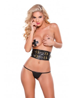 Faux Leather Belt, Pasties G-String Set 12-0355