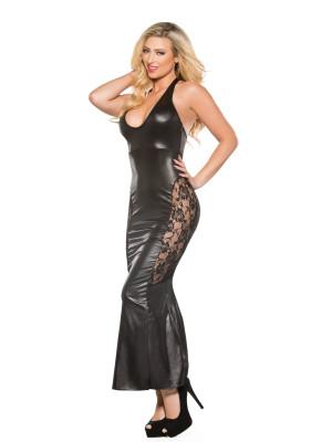 Lace Wet Look Dress Kitten-Boxed 17-4602K