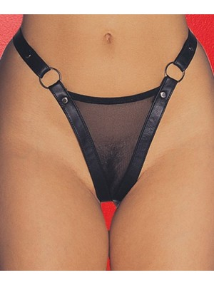 Leather Mesh G-String 2-201