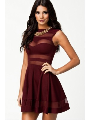 New Burgundy Oxblood Skater Dress With Mesh Detail 9038 Lingerie
