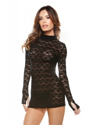 Collared Lace Dress G-string Tease B189