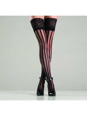 Wide Lace Top Vertically Striped Thigh High Stockings BW749