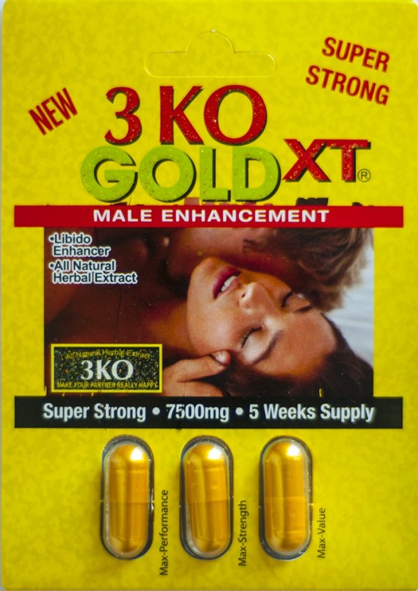 3 KO Gold XT Male Sexual Enhancer 2500mg Natural Herbal Extract One Pack