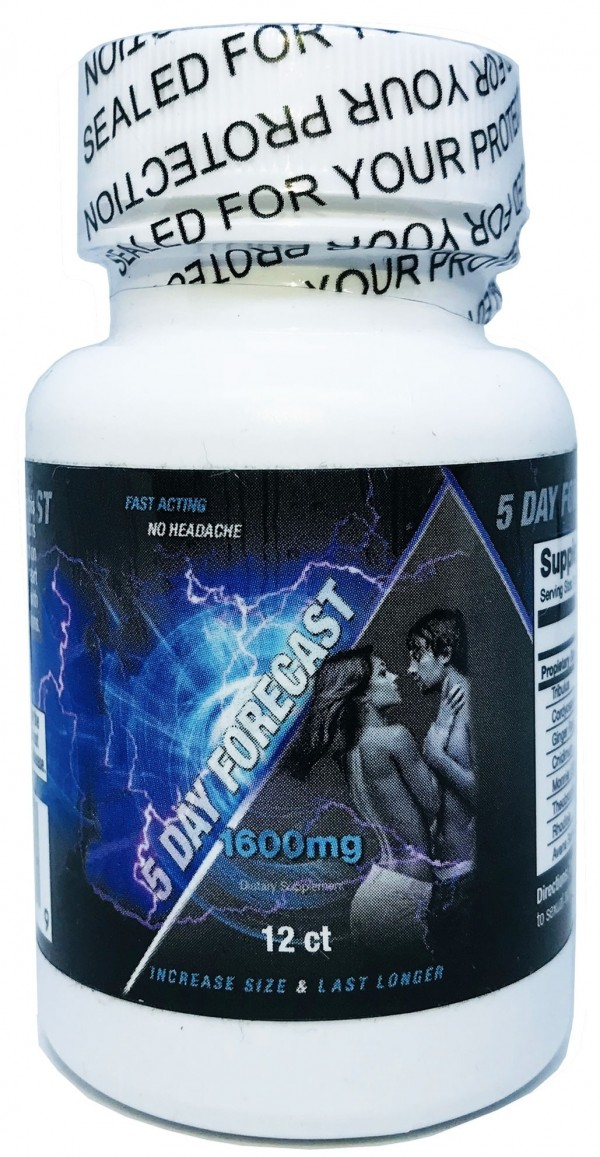 5 Day Forecast 1600mg Dietary Male Supplement 12 Pills Bottle