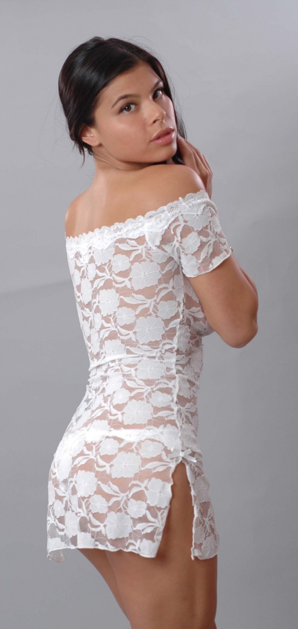 Vx Intimates Stretch Lace Mini Dress With Thong Style 5095 by Vx Intimates