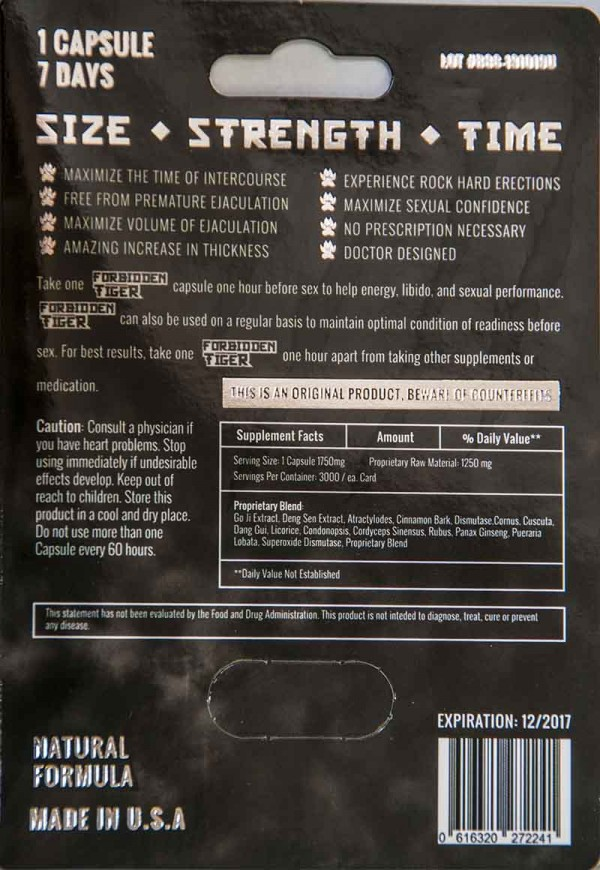 Forbidden Tiger 3000mg 7 Days Male Sexual Enhancement Pill by