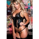 Black Lace Leather Corselet 11-157B