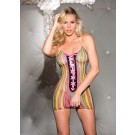 Shirley of Hollywood Women's Lace Up Fishnet Candy Chemise