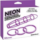 Neon Silicone Cage and Love Ring Set Purple Pipedream