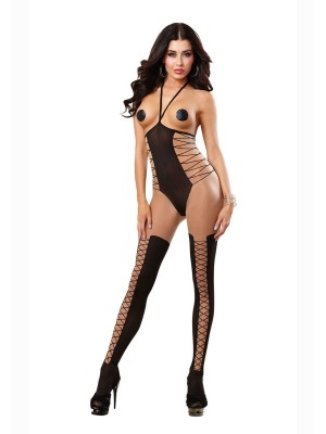 Dreamgirl 0210 Open Faux Laceup BSTK Sheer Nude Bodystocking Lingerie