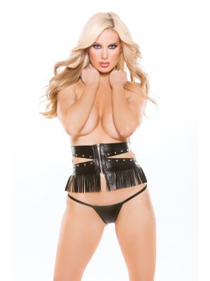 Faux Leather Underbust Waist Cincher G-String Naughty 11-5005