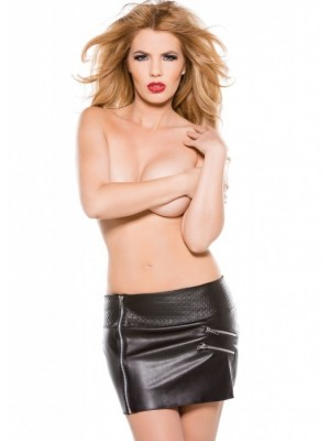 Faux Leather Zipper Skirt 13-1005