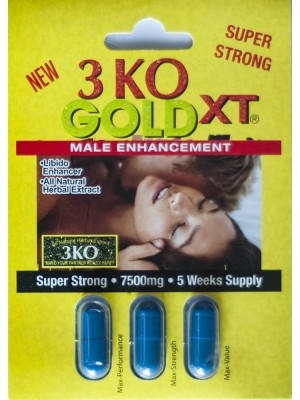 3 KO Blue Gold XT Male Sexual Enhancer 2500mg Natural Herbal Extract One Pack