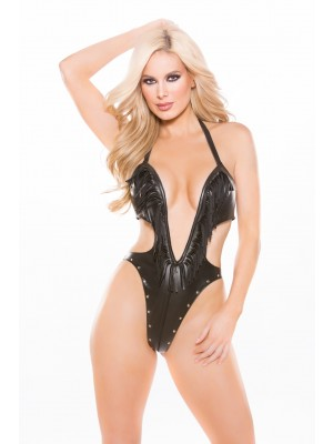 Faux Leather Deep Neckline Teddy Naughty 4-4005