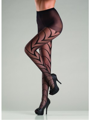 Sheer Black Pantyhose With Art Deco Lines BW731