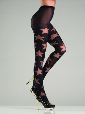 Opaque Black Pantyhose With Sheer Star Designes