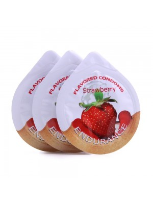 Endurance Strawberry 3 Pack of Flavored Lubricated Condoms