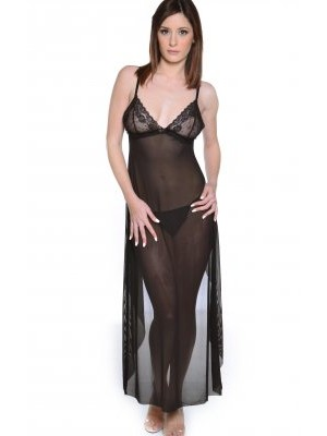 Mesh Gown With Lace Cups And Ruffles Open Back Cascade Vx Intimate Lingerie 6069