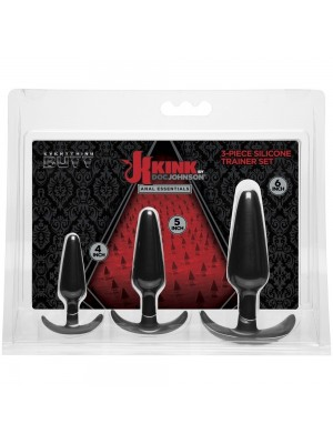 Kink - Anal Essentials 3-Piece Silicone Trainer Set Black
