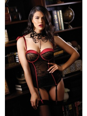 Rita Push Up Bustier Detachable Garters Panty Premiere FL1625
