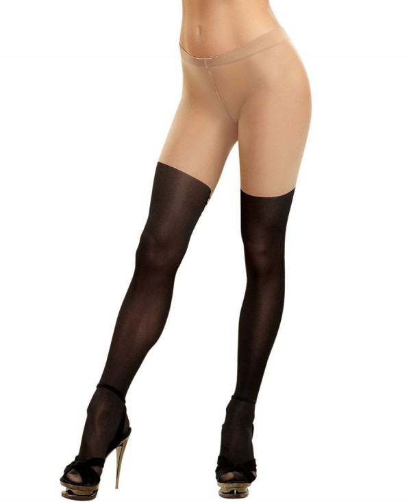 Dreamgirl 0220X Sheer Nude Pantyhose With Black Opaque Lingerie