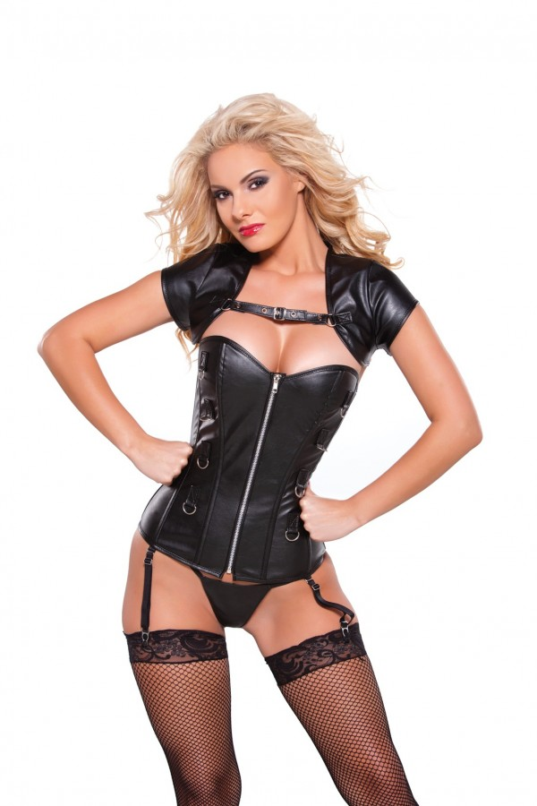 Faux Leather Corset Bolero Top 11-0402