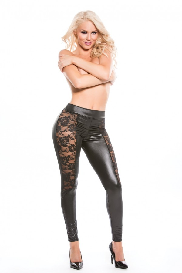 Lace Wet Look Leggings Kitten-Boxed 16-4602K