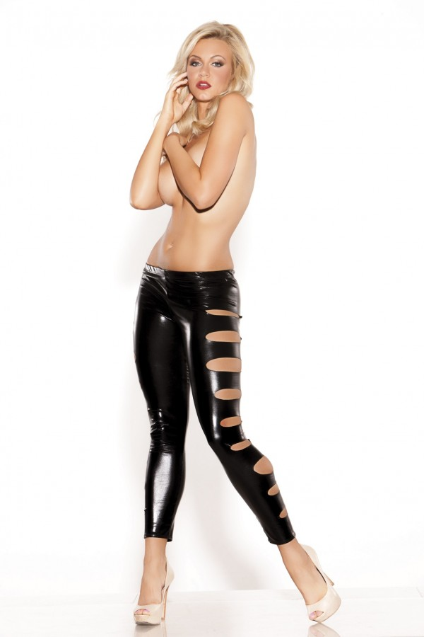 Wet Look Leggings Side Hole Kitten-Boxed 16-8002K