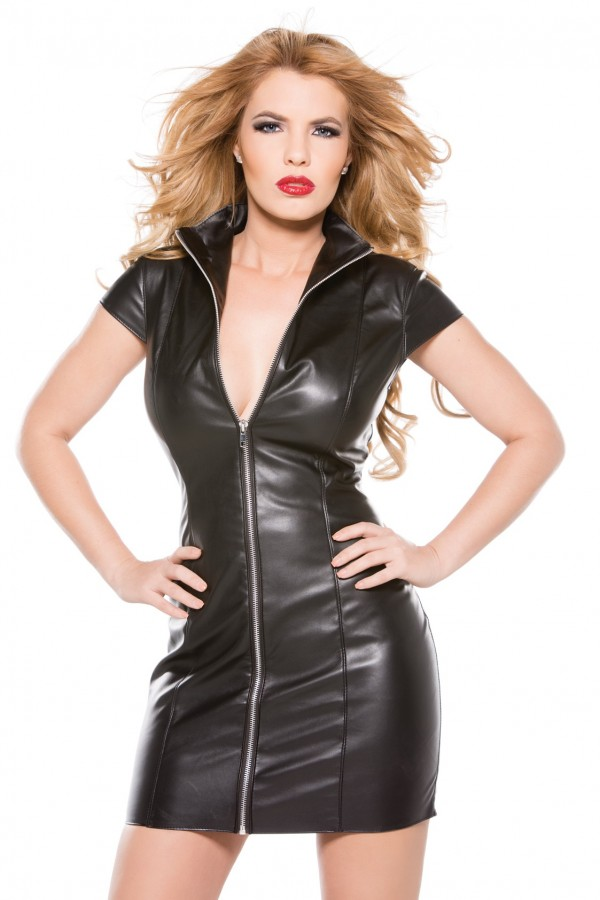 Faux Leather Dress 17-2005