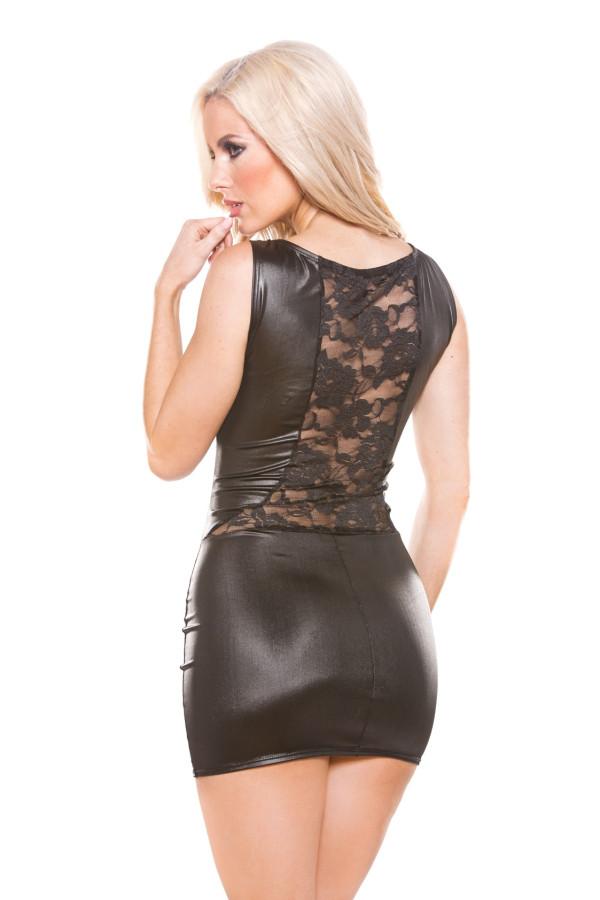 Lace Wet Look Dress Kitten-Boxed 17-8502K