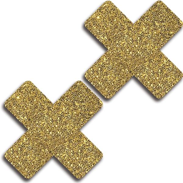 Glitter 31510 Gold Glitter Cross Pasties Lingerie
