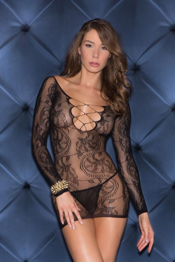 Glitter 32010 Sheer Long Sleeve V-Neck Chemise Mini Dress Lingerie