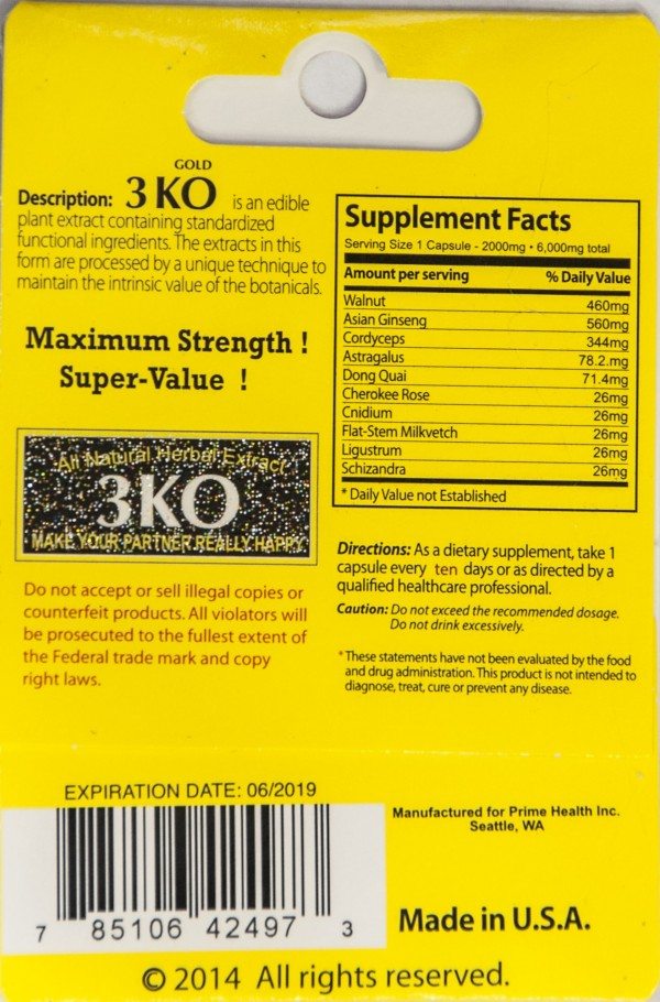 3 KO Blue Gold XT Male Sexual Enhancer 2000mg Natural Herbal Extract One Pack by Prime Health Inc.