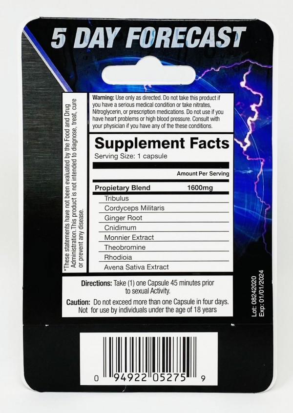 5 Day Forecast 1600 mg Dietary Supplement Pill