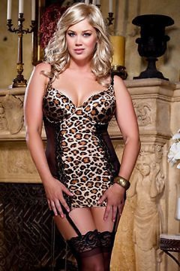 Dreamgirl 7933 Leopard Plus Size Animalistique Chemise Garter Slip And Thong