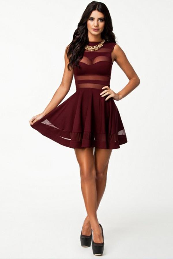 New Burgundy Oxblood Skater Dress With Mesh Detail 9038 Lingerie