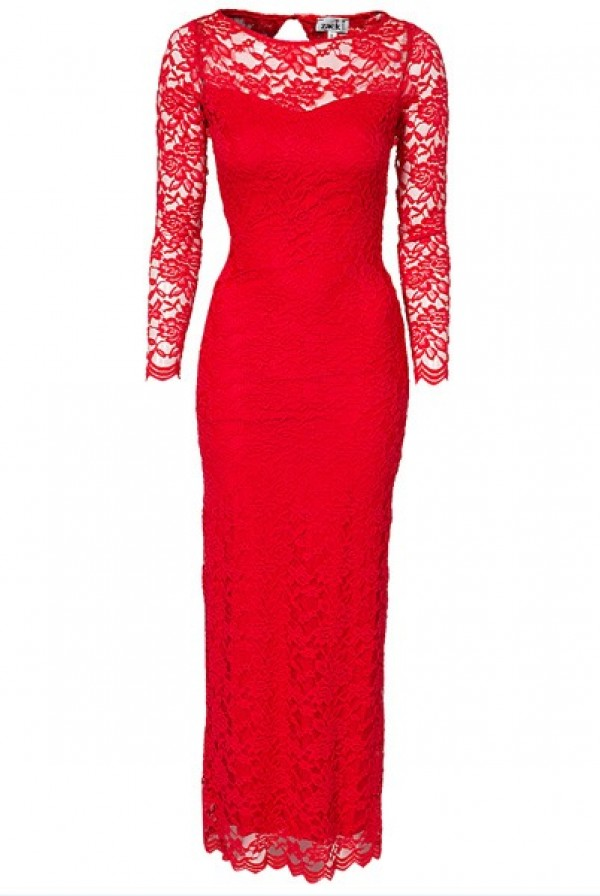 Sexy Women's Long Sleeve Red Lace Maxi Backless Party Dress 9262 Lingerie