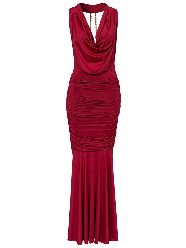 Evening Draped Dress with Open Back and Chain Decoration 9336 Lingerie