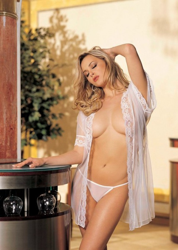 Shirley Hollywood 96046- Sequin Embroidery and Sheer Net Baby Doll   Sheer 15 Denier Knit and Lace Robe with tie belt. Color: Black Red White. One Size. [G-string not included]   100% Nylon exclusive of trim. Hand Wash Hand wash separately in luke warm wa