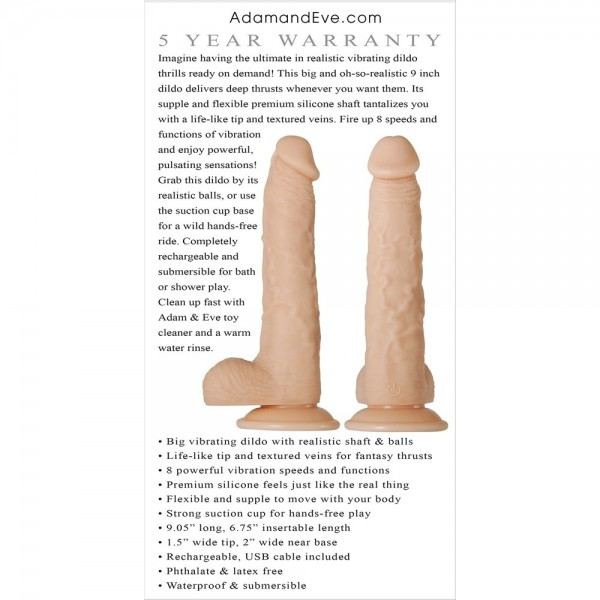 Adam's Rechargeable Realistic Vibrating Dildo back