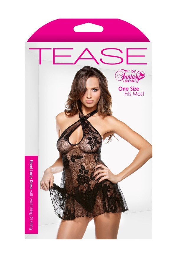 Floral Lace Dress Matching G-string Tease B432