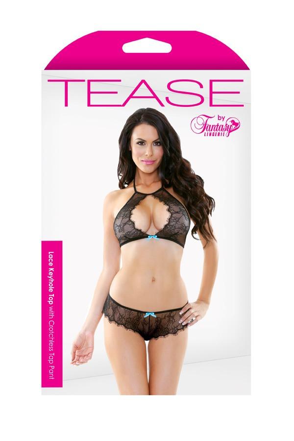 Lace Keyhole Top Crotchless Tap Pant Tease B453