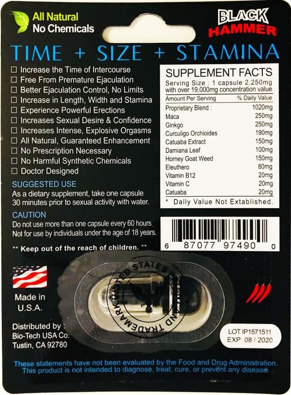 Black Hammer 19000 Triple Maximum Power Male Enhancer Black Pill Back