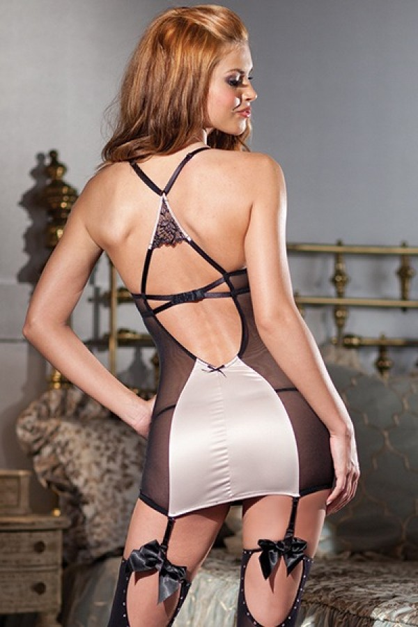 Champagne Satin And Mesh Racerback Cami Suspender Lingerie BW 1361