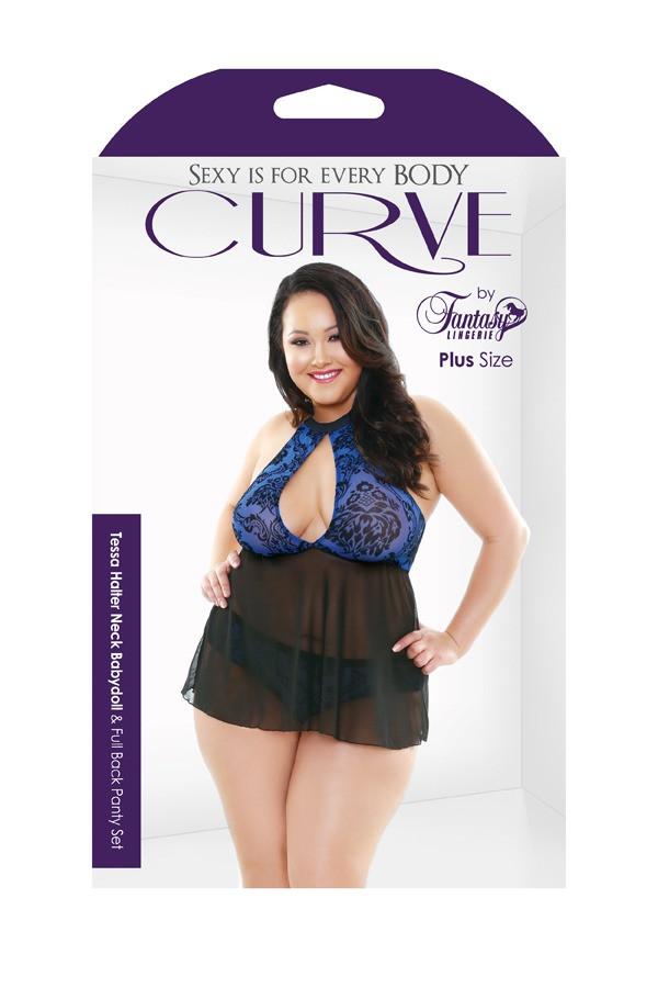 Tessa Halter Neck Babydoll Full Back Panty Set Curve P210