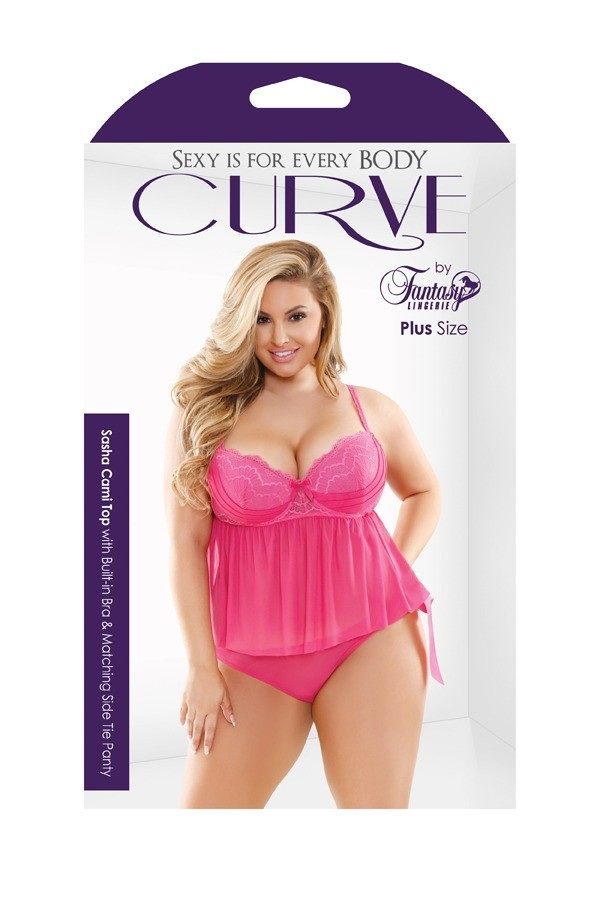 Sasha Cami Top Built-in Bra Matching Side Tie Panty Curve P214