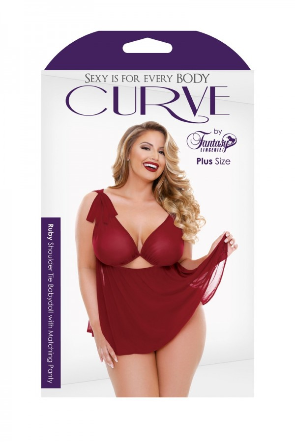 Ruby Shoulder Tie Babydoll Keyhole Front Matching Panty Curve P225